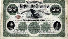 Republic of Ireland Bond: $500 (Theobald Wolfe Tone & Thomas Davis), 186__, signed by O'Sullivan & Scanlan. The Old Currency Exchange, Dublin, Ireland.