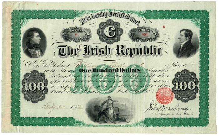 Fenian Bonds: O'Mahony Issue, $100 (Theobald Wolfe Tone and Robert Emmet), signed by John O'Mahony. The Old Currency Exchange, Dublin, Ireland.