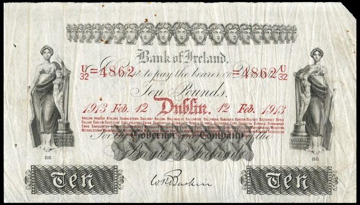 1913 Bank of Ireland (Thirteenth Issue), Ten Pounds - signed: W.H. Baskin. The Old Currency Exchange, Dublin, Ireland.
