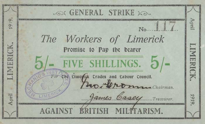 Extremely rare Limerick Soviet Five Shillings Note - Type A1. Printed in Black & Green inks, on Grey-blue paper. Signed by John Cronin (Chairman) and James Casey (Treasurer). The Old Currency Exchange, Dublin, Ireland.