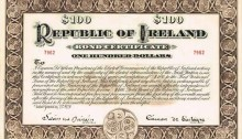 1920 (21 January) $100 Republic of Ireland Bond No. 7962 signed by Eamon de Valera. The Old Currency Exchange, Dublin, Ireland.
