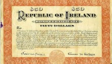 1920 (21 January) $50 Republic of Ireland Bond issued by Eamon de Valera. The Old Currency Exchange, Dublin, Ireland.