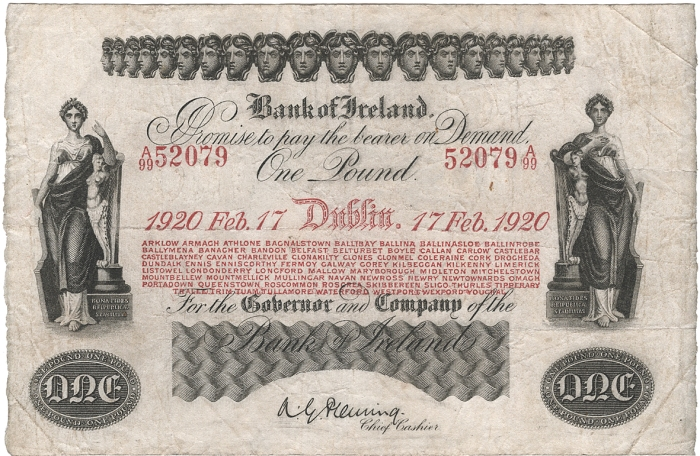 Bank of Ireland One Pound, Fourteenth Issue (Branches in 8 lines and red ink), Type 2, dated 17th February 1920, signature of A.G. Fleming, Chief Cashier. The Old Currency Exchange, Dublin, Ireland.