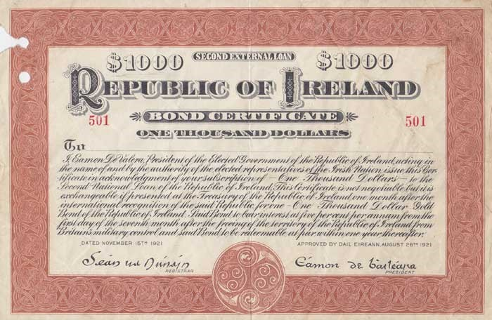1921 (15 November) $1000 Republic of Ireland Bond No 501 signed by Eamon de Valera. The Old Currency Exchange, Dublin, Ireland.