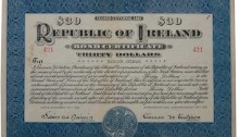 1921 (15 November) $30 Republic of Ireland Bond No 421 signed by Eamon de Valera. The Old Currency Exchange, Dublin, Ireland.