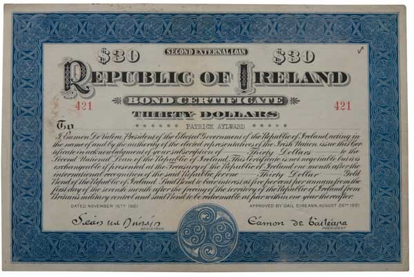 1921 (15 November) $30 Republic of Ireland Bond No 421 signed by Eamon de Valera. The Old Currency Exchange, Dublin, Ireland.