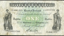 1922 Bank of Ireland, One Pound, 12 June 1922, 11A 355700, signature of S. Hinton. The Old Currency Exchange, Dublin, Ireland.