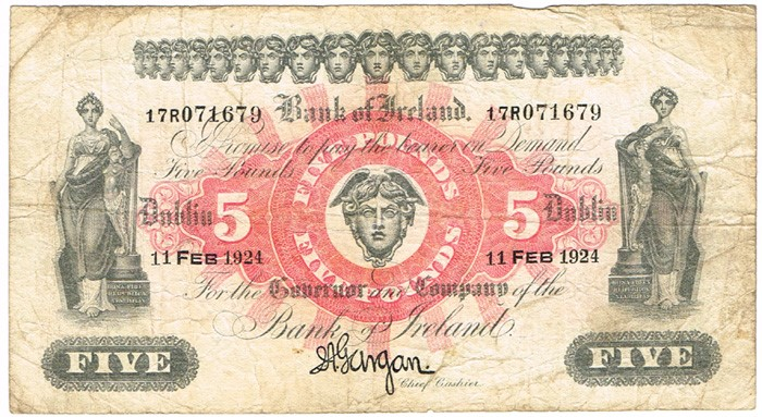 A Bank of Ireland (Seventeenth Issue), Five Pound Note, Type 1c (In-line prefix), Signature: Joseph A. Gargan, Chief Cashier. The Old Currency Exchange, Dublin, Ireland.