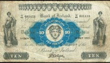 1925 Bank of Ireland (Seventeenth Issue) Ten Pounds, Type 1b, dated 10 Oct 1925, signed by Gargan, Chief Cashier. The Old Currency Exchange, Dublin, Ireland.