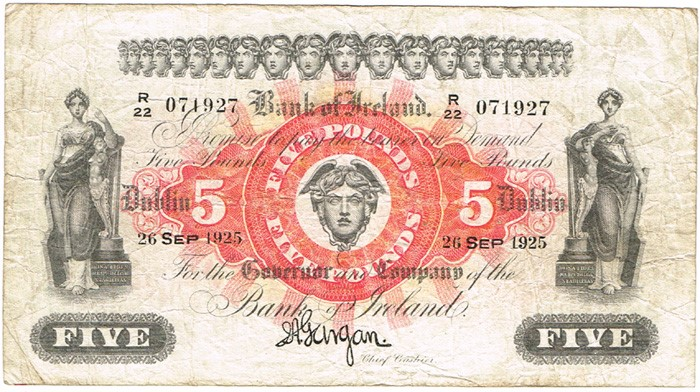 Bank of Ireland (Seventeenth Issue), Five Pound Note, Type 1d (Larger fractional prefix), Signature: Joseph A. Gargan, Chief Cashier. Date: 26-SEP-1925. The Old Currency Exchange, Dublin, Ireland.