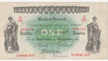 1928 Bank of Ireland. Dublin. One Pound. 16-FEB-1928 A23-168186, BH-1B, signed by Gargan. Good fine. The Old Currency Exchange, Dublin, Ireland.