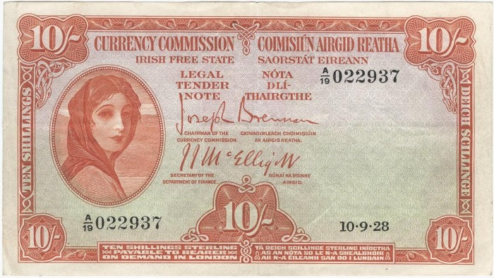 1928 Currency Commission of the Irish Free State, Ten Shillings, Type 1a (Joseph Brennan / James J. McElligott). The Old Currency Exchange, Dublin, Ireland