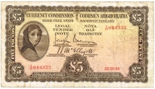 Currency Commission of the Irish Free State, Five Pounds brown, Type 1a (Fractional prefix). Signed by: Joseph Brennan / James J. McElligott. The Old Currency Exchange, Dublin, Ireland.