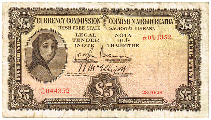 1928 Currency Commission of Ireland £5, dated 23rd October 1928. Signed by Joseph Brennan & J.J. McElligott. The Old Currency Exchange, Dublin, Ireland.