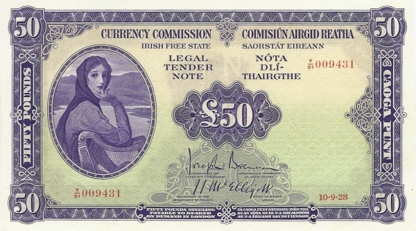 A Currency Commission of the Irish Free State, Fifty Pounds, Type 1a (Fractional prefix). Signed by: Joseph Brennan / James J. McElligott. The Old Currency Exchange, Dublin, Ireland.
