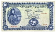 Currency Commission Irish Free State, Ten Pounds, dated 10 September 1928, Searial Number: V/01 016933, Brennan-McElligott signatures. The Old Currency Exchange, Dublin, Ireland.