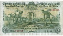 1929 Bank of Ireland, One Pound, dated 10th June 1929, S/N:13BA 046879, signed by J. Brennan & J.A. Gargan. The Old Currency Exchange, Dublin, Ireland.