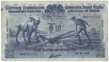 1929 Bank of Ireland, Ten Pounds, dated 6th May 1929, 01BT 024135, signed by J. Brennan & J.A. Gargan. The Old Currency Exchange, Dublin, Ireland.
