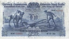 1929 Hibernian Bank Ltd, Ten Pounds, 6 May 1929, 01HT 016863, Brennan-Campbell signatures. The Old Currency Exchange, Dublin, Ireland.