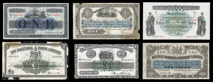 1929 Joint-Stock Banknotes for Northern Ireland. The Old Currency Exchange, Dublin, Ireland.