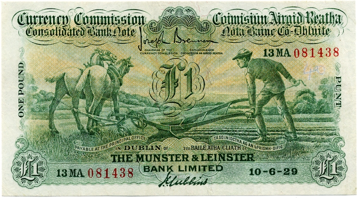 1929 Munster & Leinster Bank Ltd, One Pound, 10 June 1929, ploughman, 13MA 081438, Brennan-Gubbins signatures. The Old Currency Exchange, Dublin, Ireland.