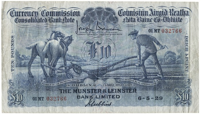 1929 Munster & Leinster Bank Ltd, Ten Pounds, 6 May 1929, 01MT 032766, Brennan-Gubbins signatures. The Old Currency Exchange, Dublin, Ireland.