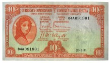 Currency Commission Irish Free State, Ten Shillings, Type 1b (In-line prefix). Signed by Joseph Brennan / James J. McElligott, dated 20 May 1931, S/N: 84A 091901. This date is not listed by Blake & Callaway. The Old Currency Exchange, Dublin, Ireland.