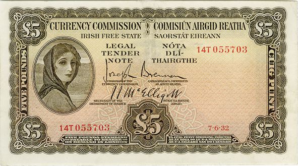Currency Commission Irish Free State, One Pound, Type 1b (Fractional prefix), dated 7th June 1932, S/N: 14T 055703. Signed by: Joseph Brennan / James J. McElligott. The Old Currency Exchange, Dublin, Ireland.