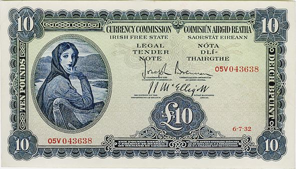 Currency Commission Irish Free State, Ten Pounds, Type 1b (In-line prefix) dated 6th July 1932, 05V 043638, Brennan-McElligott signatures. The Old Currency Exchange, Dublin, Ireland.