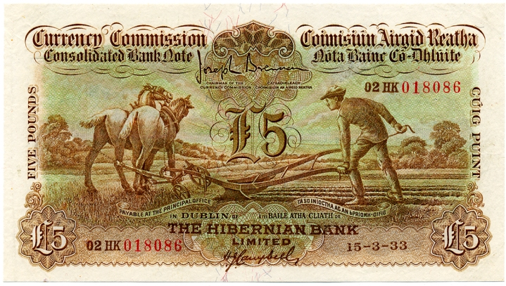 1933 Hibernian Bank Ltd, Five Pounds Ploughman note, dated 15th March 1933, 02HK 018086, signed by J. Brennan & H.J. Campbell. The Old Currency Exchange, Dublin, Ireland.