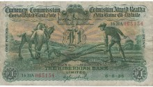 1936 Hibernian Bank, £1 Ploughman note, dated 8th June 1936, serial number 16HA 065154, signed by J. Brennan & H.J. Campbell. The Old Currency Exchange, Dublin, Ireland.