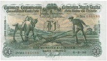 Munster & Leinster Bank Ltd, One Pound (ploughman) note, dated 6th August 1936, 29MA 046888, and signed by J. Brennan & A.E. Hosford. The Old Currency Exchange, Dublin, Ireland.