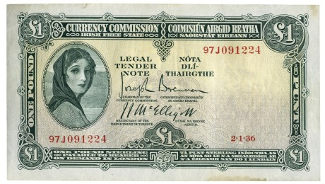 Currency Commission Irish Free State, One Pound; dated 2 January 1936, S/N: 97J 091224, Brennan-McElligott signatures. The Old Currency Exchange, Dublin, Ireland.