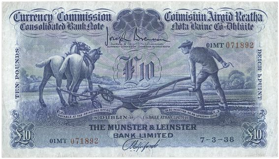 1938 Munster & Leinster Bank Ltd, Ten Pounds (ploughman) note, 7 March 1938, 01MT 071892, Brennan-Hosford signatures. The Old Currency Exchange, Dublin, Ireland.