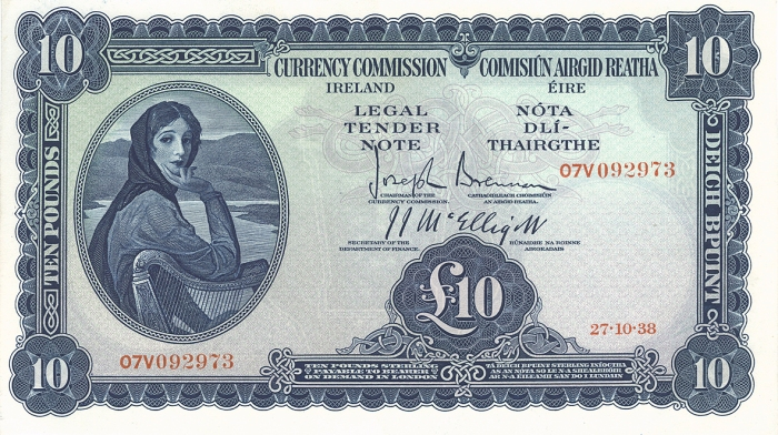 1938 Currency Commission Ireland, Ten Pounds, dated 27th October 1938, S/N: 07V 092973, Brennan-McElligott signatures. The Old Currency Exchange, Dublin, Ireland.