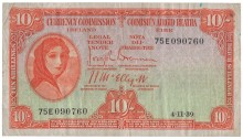 1939 Currency Commission Ireland, Ten Shillings, dated 4th November 1939, serial number 75E 090760, Brennan-McElligott signatures. The Old Currency Exchange, Dublin, Ireland.