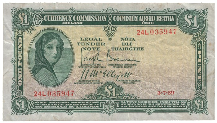 1939 Currency Commission Ireland, One Pound, dated 3rd July 1939, serial number 24L 035947, Brennan-McElligott signatures. The Old Currency Exchange, Dublin, Ireland.
