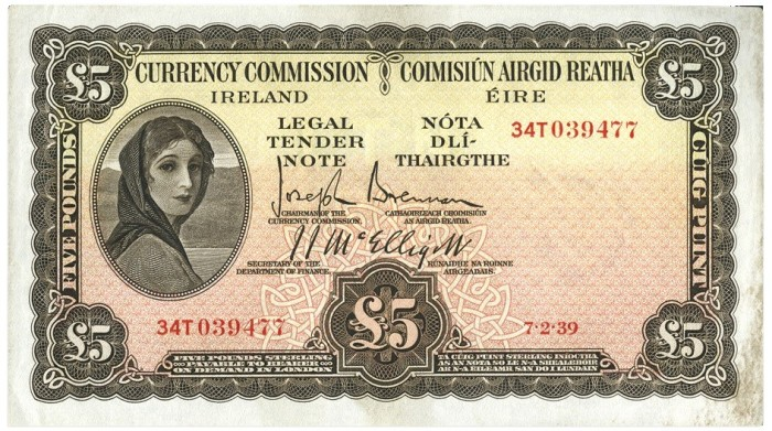 1939 Currency Commission Ireland, Five Pounds, dated 7th February 1939, S/N: 34T 039477, Brennan-McElligott signatures. The Old Currency Exchange, Dublin, Ireland.
