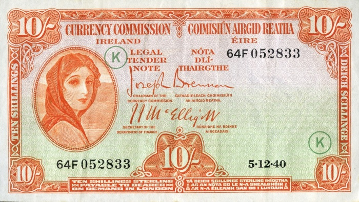 Currency Commission of the Irish Free State, Ten Shillings, Type 3b (War Codes added). Signed by Joseph Brennan / James J. McElligott. War Code = K (in green ink). Dated 5th December 1940 - not listed by Blake & Callaway. The Old Currency Exchange, Dublin, Ireland.