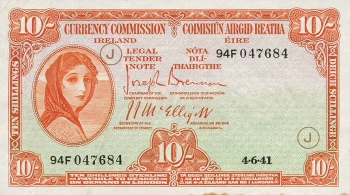 Currency Commission of the Irish Free State, Ten Shillings, Type 3c (War Codes added). Signed by Joseph Brennan / James J. McElligott. War Code = J (in brown ink). Dated 4th June 1941 - not listed by Blake & Callaway. The Old Currency Exchange, Dublin, Ireland.