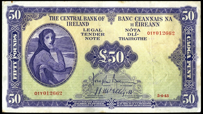 1943 £50 Central Bank of Ireland, 5 April 1943, Brennan-McElligott signatures. The Old Currency Exchange, Dublin, Ireland.