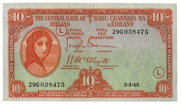 Central Bank of Ireland, Ten Shillings, Type 3d (War Codes added). Signed by Joseph Brennan / James J. McElligott. War Code = L (in orange ink) and dated 2nd March 1943. The Old Currency Exchange, Dublin, Ireland.