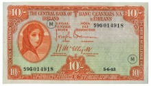 Currency Commission of the Irish Free State, Ten Shillings, Type 3e (War Codes added). Signed by Joseph Brennan / James J. McElligott. War Code = M (in grey ink) and dated 5th June 1943. The Old Currency Exchange, Dublin, Ireland.