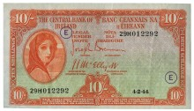 Central Bank of Ireland, Ten Shillings, Type 3g (War Codes added). Signed by Joseph Brennan / James J. McElligott. War Code = E (in purple ink) and dated 4th February 1944. The Old Currency Exchange, Dublin, Ireland.