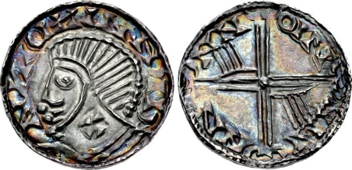 Hiberno-Norse, Phase III, Class E silver penny (Plain bust with symbol - cross on neck). Two hands on reverse. The Old Currency Exchange, Dublin, Ireland.