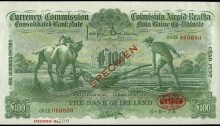 £100 ploughman, Bank of Ireland, One Hundred Pounds, specimen 1978 obverse. The Old Currency Exchange, Dublin, Ireland.