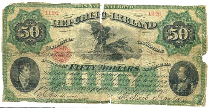 National Bond for the Republic of Ireland' $50, featuring vignettes of Commodore Lord Edward Fitzgerald and Richard Montgomery and signed by O'Sullivan & Scanlan. The Old Currency Exchange, Dublin, Ireland.