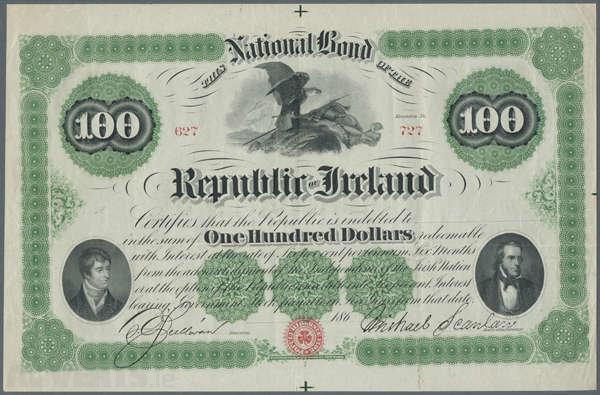 National Bond for the Republic of Ireland' and signed by O'Sullivan & Scanlan. The Old Currency Exchange, Dublin, Ireland.