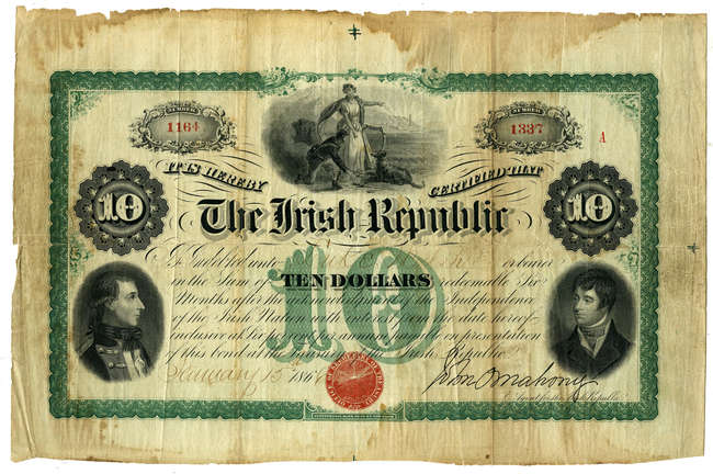 FENIAN BOND CERTIFICATE, Ten dollar, issued January 15th 1866 by John O'Mahony (Agent for the Irish Republic), to Luke Walsh, No. 1164 1387, 18 x 27.5cm