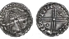 Hiberno-Norse penny, Phase III, Class B (Hand in front of face), Type 1b - Long Cross, large Pellet + Stigmata Hand. Echmarcach Mac Ragnaill. The Old Currency Exchange, Dublin, Ireland.